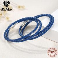 Authentic 925 Silver Blue Braided Leather Bracelet Men Bracelets Bangles Compatible With DIY Sterling Silver Men