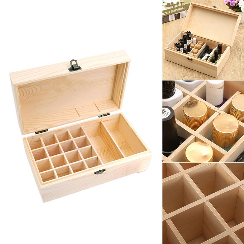 CHUWUJU 18 21 Wooden Essential Oils Storage Box Organization Aromatherapy Natural Pine Wood Handmade