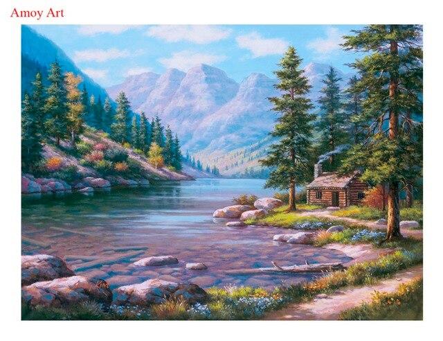 gerahmte diy bergsee landschaft bild auf wand acryl malen nach zahlen kit f r wohnzimmer farbe. Black Bedroom Furniture Sets. Home Design Ideas