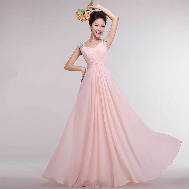 Shoulder Straps 2015 Long Party   Dresses   Rhinestone Pleated Chiffon   Prom     Dress   2015 Pink Custom Long Lace Gown Women