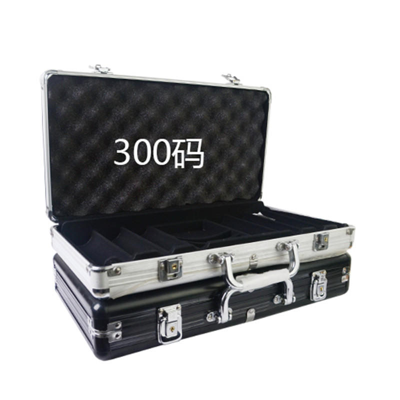 Wholesale retail high-grade professional aluminum chip boxes 300 codes yards chips poker coin carrying case black silver