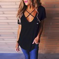 2017 Summer Women Sexy Blouses Shirts Ladies V Neck Short Sleeve Hollow Out Casual Loose Solid Blusas Tops Plus Size Tee Tops
