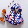 2016 New Fashion Girl Winter Coat Hoodie Kids Clothes Casual Slim Floral Baby Outerwear Cotton-padded Jacket Children's Parkas