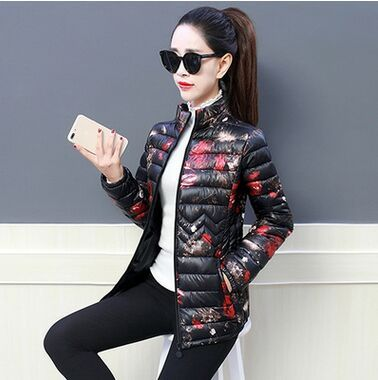 2018 Winter Jacket women Plus Size Womens Parkas Thicken Outerwear  flower print Coats Short Female Slim Cotton basic tops 4