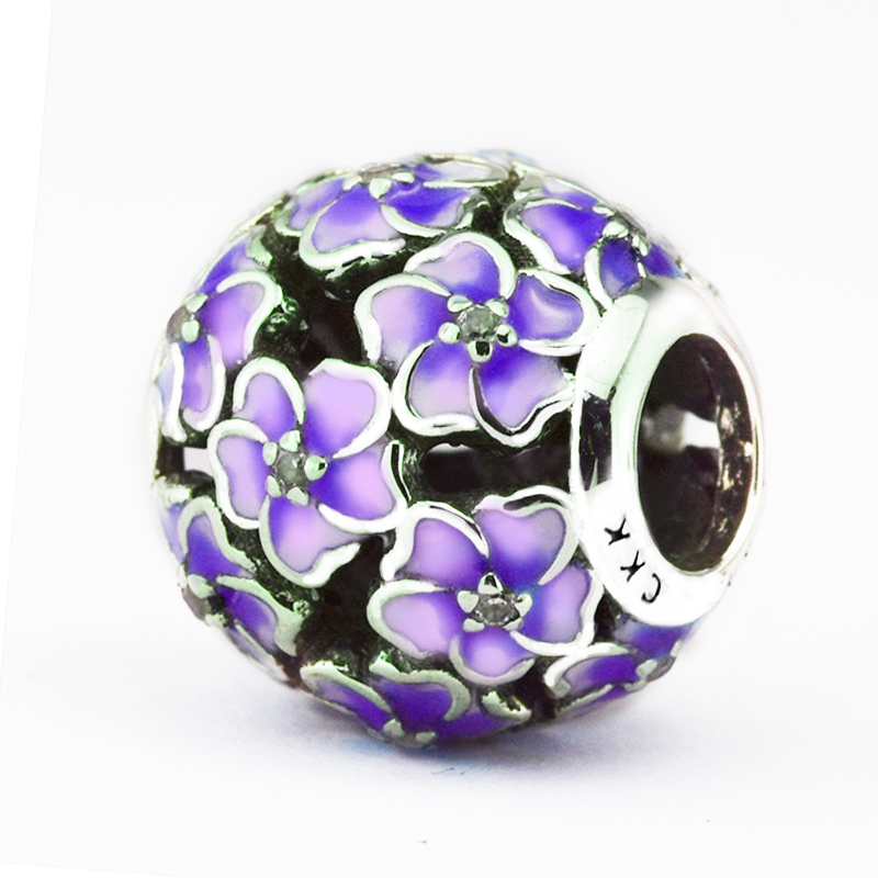 Fits for Pandora Charms Bracelets Daisy Beads with Pale Purple Enamel & Clear CZ 100% 925 Sterling Silver Jewelry Free Shipping
