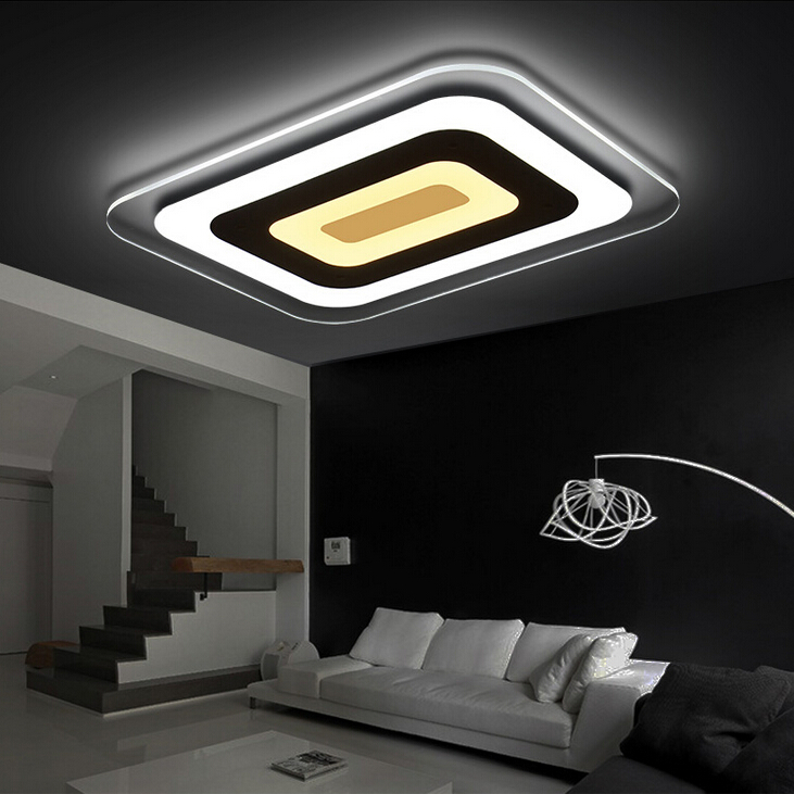 Ultra-thin acrylic modern Square led ceiling lights for living room bedroom lamparas de techo colgante led ceiling lamp fixture square white black modern led high quality ceiling lights for living study bedroom kids room ultra thin hot ceiling lamp fixture