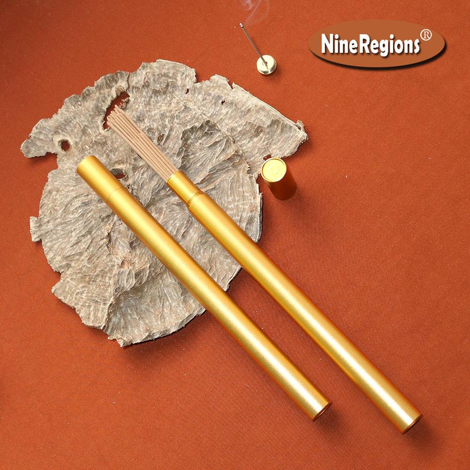 8g 13A chinois HaiNan oud bâton encens qualité fait à la main naturel pur forte senteurs odeur oudh Incenso tube d'or avec brûleur