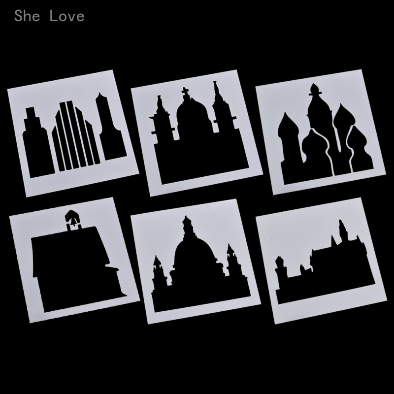 She Love Castle Set Laser Cut Masking Spray Painted Template Drawing