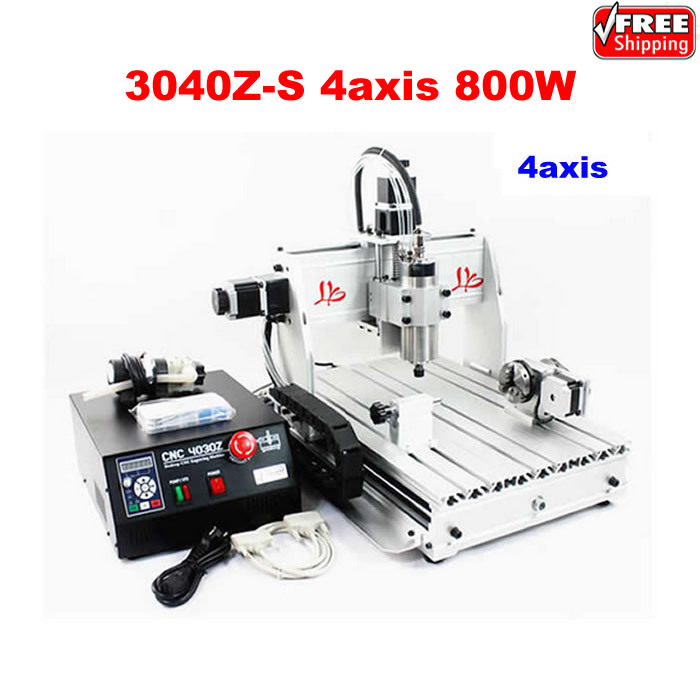 3040Z-S 4axis 800W CNC milling machine with rotary axis 800W VFD water cooled spindle for 3D work cnc 5axis a aixs rotary axis t chuck type for cnc router cnc milling machine best quality