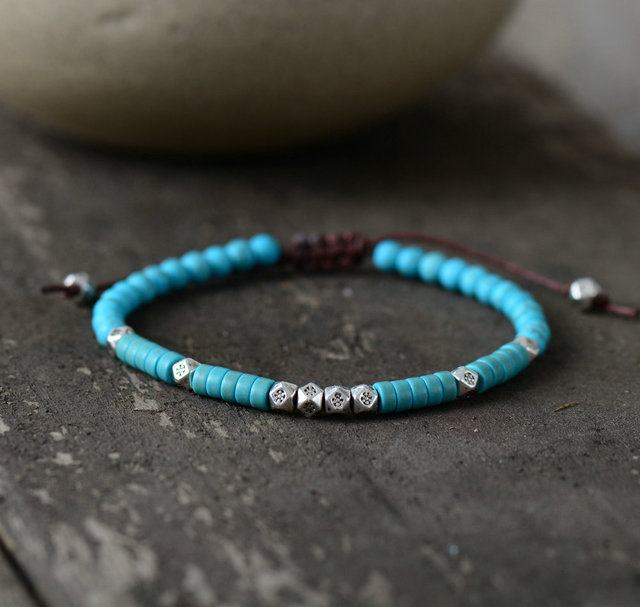 S Bracelet Stone And Antique Silver Beads Handmade Friendship Bracelets Mens Jewelry