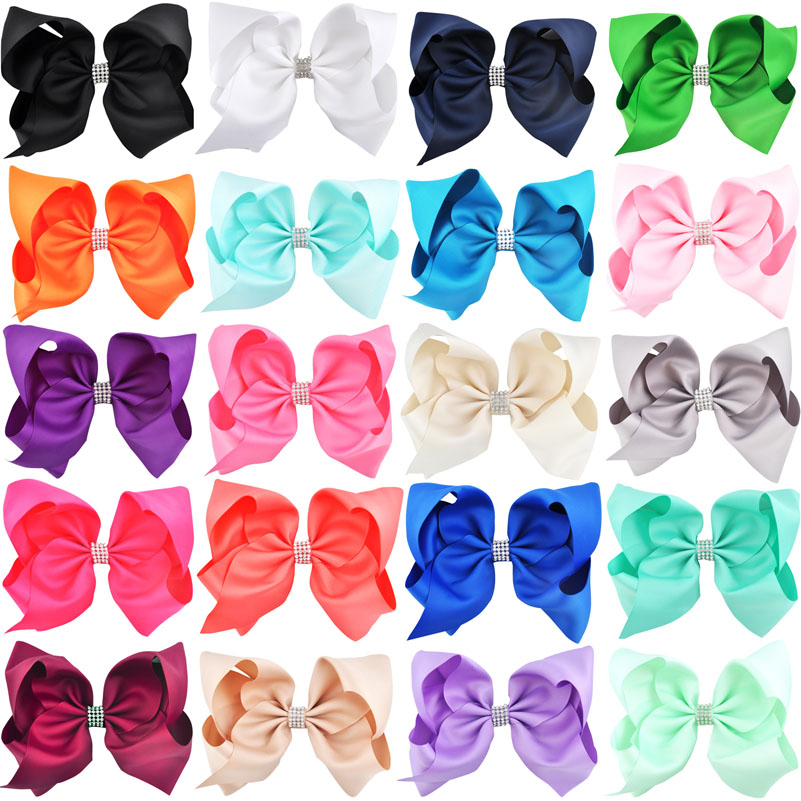 8 inch 20pcs/lot Big Large Hair Bows Rhinestone Alligator Clips Girls Hair Accessories Childrens Women Hairpins Grosgrain Ribbon-in Hair Accessories from Mother & Kids
