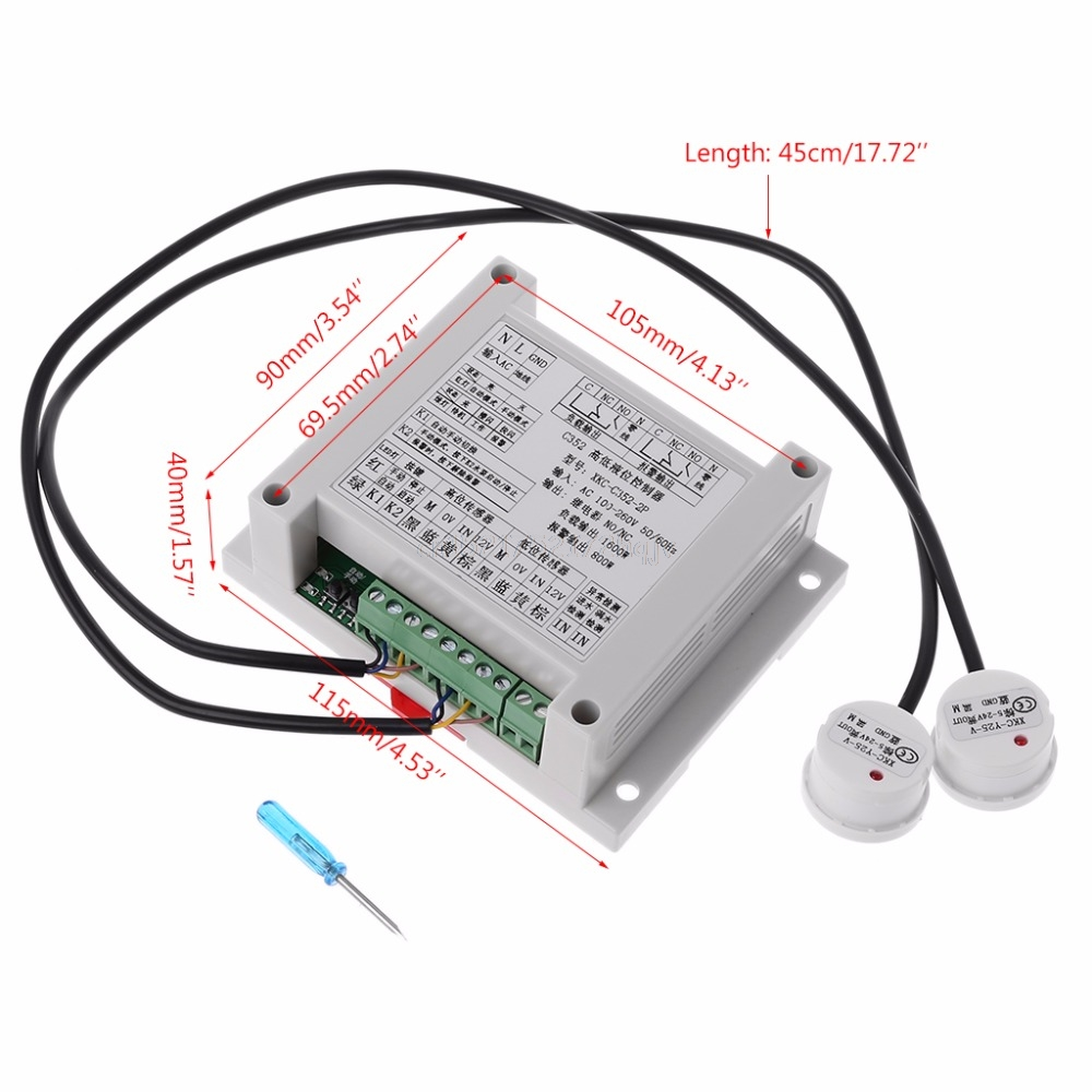 High And Low Liquid Level Intelligent Controller With 2 Non-contact Sensor Module Automatic Control Liquid Water Level My02 19