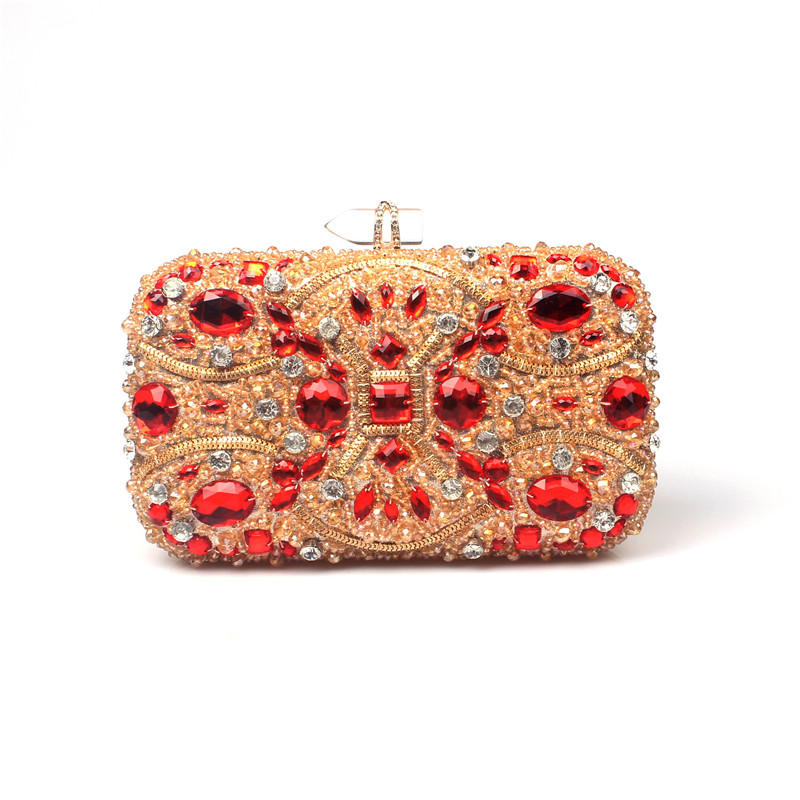 ФОТО Master design vintage handmade beaded evening bags female diamond crystal gold red diamond bridal wedding clutch evening bag