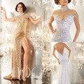 Ouro Longo Mulheres Vestido de Noite 2017 Da Sereia Alta Pescoço Partido Vestidos de noite Vestidos Com Cristais Bling Lantejoula Slit Frente Sheer Hot