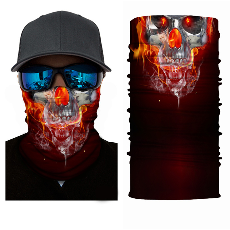 Sports Magic 3D Seamless Headband Tube Head Neck Scarf Face Mask Skeleton Skull Halloween Bandana Bicycle Neckerchief Headscarf