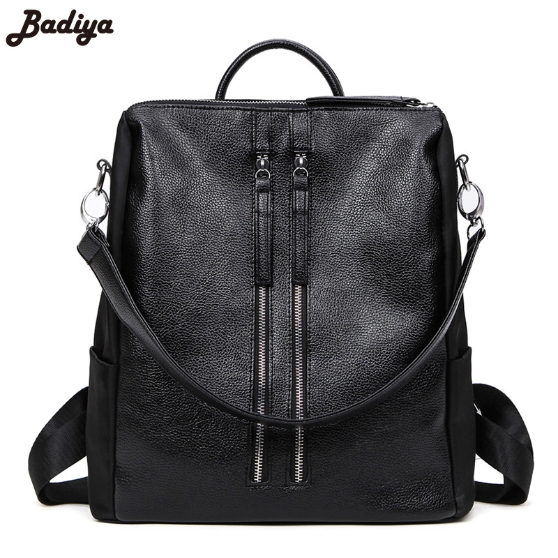 Brief Design Famous Brand Student Casual Laptop Bags Girl Mochila Women  Leather Nylon Shoulder Bag Backpack Fashion Schoolbags 09fae262c1