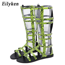 Eilyken Summer New Zipper Gladiator Cover Heel Women Roman Knee High Boots Serpentine Fluorescent Green Flat Casual Sandals