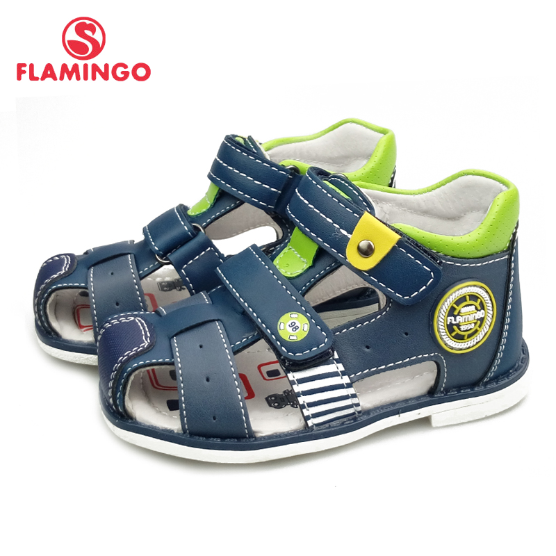 FLAMINGO Cutout Summer Kid Shoe Leather Insole Closed Toe Outdoor Toddler Boy Sandal Size 19-24  Free Shipping 91S-HL-1431/1432
