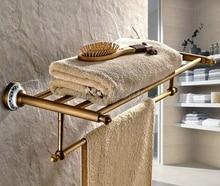 Bathroom Accessory Antique Brass Brief Style Towel Rail Holder Storage Rack Shelf Bar Wall Mounted Wba411