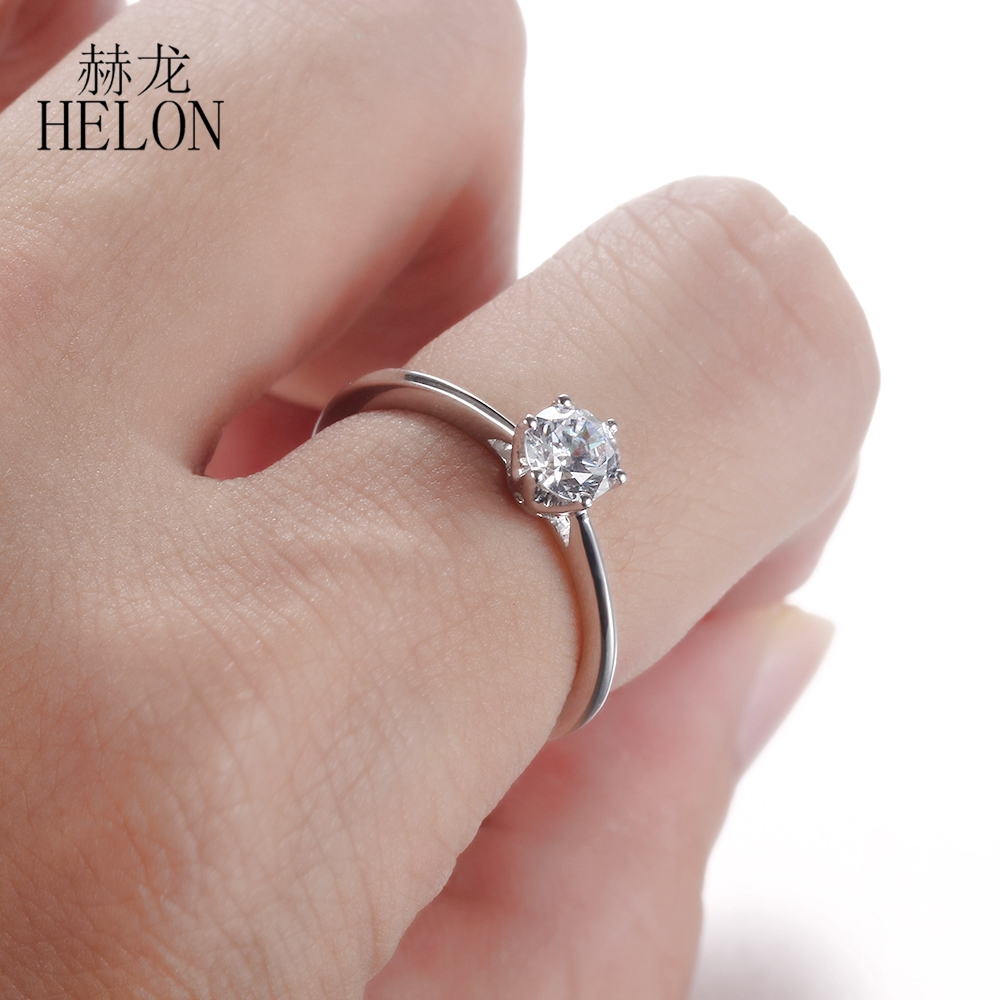 HELON Solid 10K White Gold Solitaire 5mm Round H G 0.5ct Moissanites ...