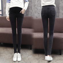 Autumn winter Pregnant ladies denims maternity leggings pencil pants stomach maternity trousers Thickening and velvet