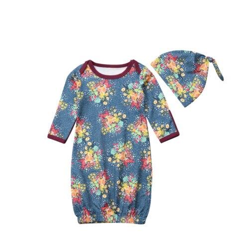 Sparsam Neugeborenen Baby, Kleinkind Swaddle Wrap Swaddling Decke Schlafen Tragen Baby Mädchen Floral Schlaf Kleid + Hut 2 Stücke Set Der Preis Bleibt Stabil