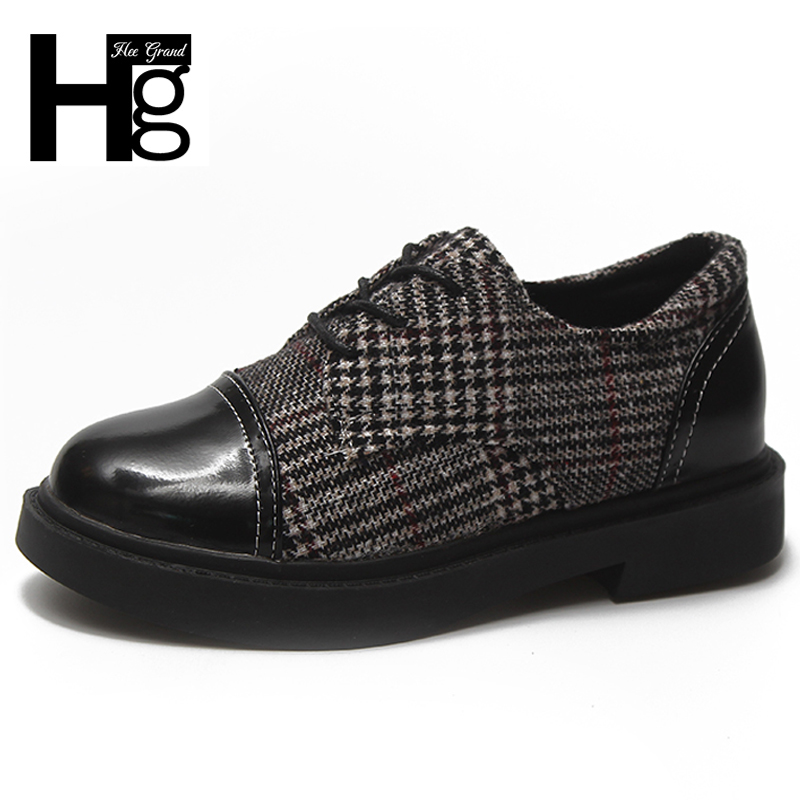 HEE GRAND 2018 New Arrival Fashion Women's Shoes Lace up Brogue Style Daily Patent PU Leather Round toe Shoes Woman XWD6794 hee grand solid patent leather women oxfords british new fashion platform flats casual buckle strap ladies shoes woman xwd5833