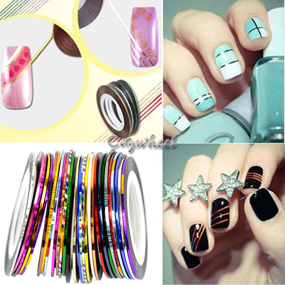 Striping Tape Line Nail Art: 30 Mix Color Rolls Striping Tape Metallic Yarn Line Nail
