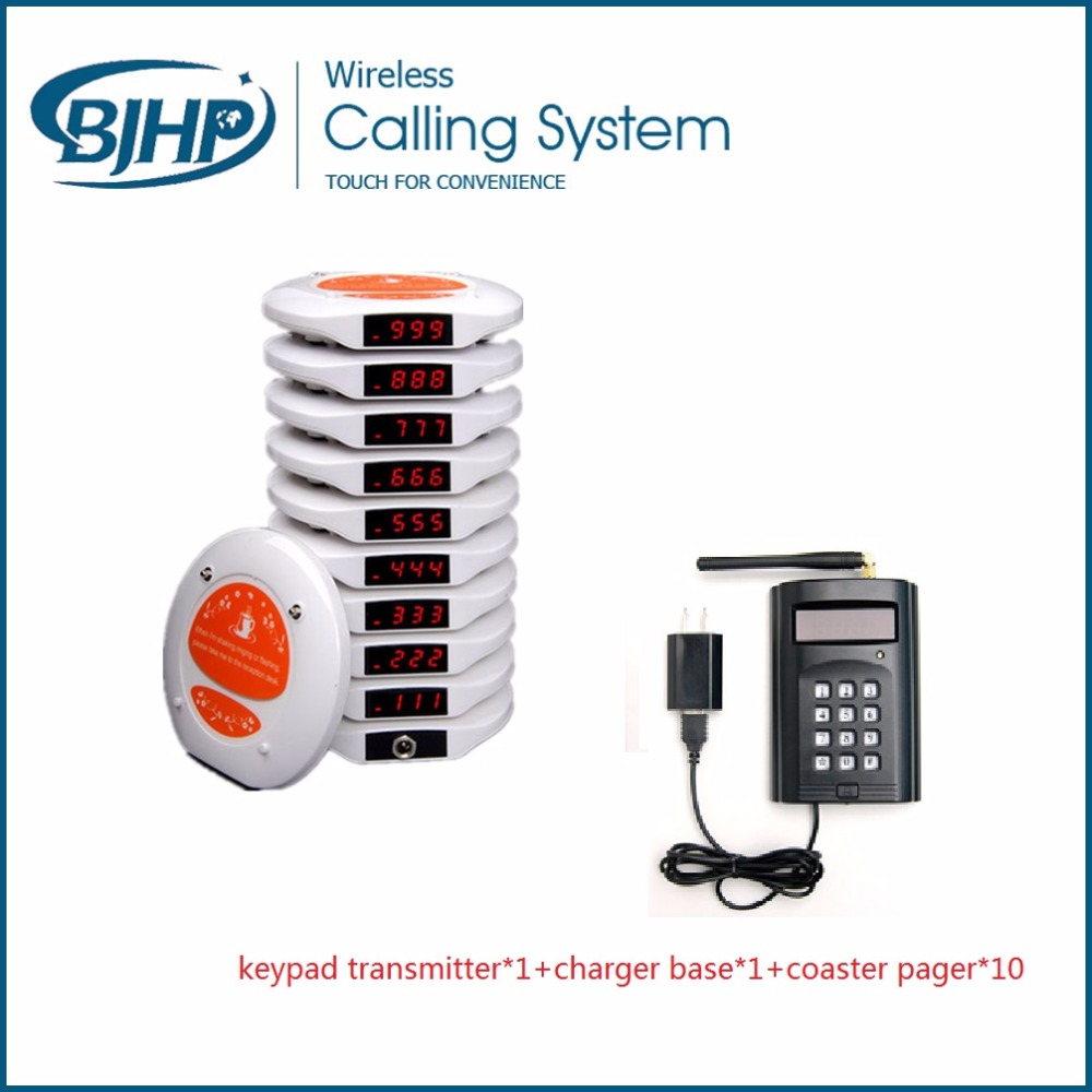 Restaurant table number service wireless waiter calling system keypad transmitter*1+charger base*1+coaster pager*10 wireless service call bell system popular in restaurant ce passed 433 92mhz full equipment watch pager 1 watch 7 call button