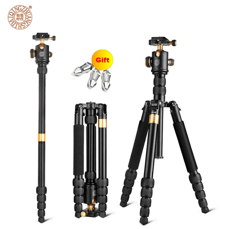 New QZSD Q668 60-inch Professional Portable Camera Tripod For Canon Nikon Sony DSLR Ball Head Monopod Tripod Stand Loading 8KG 2015 new upgrade q999s professional photography portable aluminum ball head tripod to monopod for canon nikon sony dslr camera