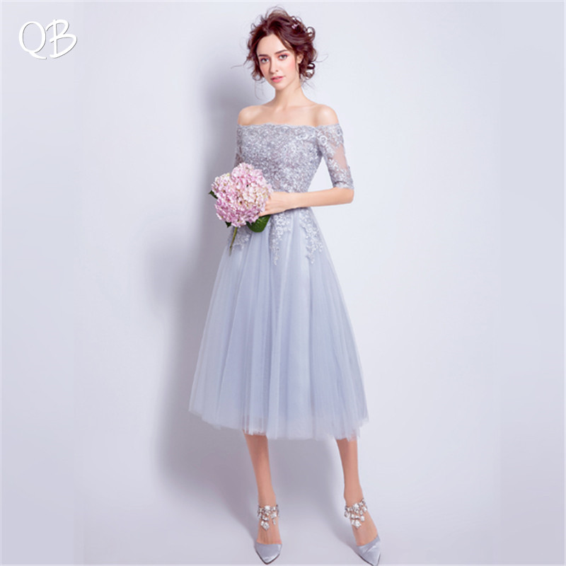 A line Half Sleeves Tulle Lace Crystal Beaded Gray Short Sexy Evening Dresses Bride Banquet Party