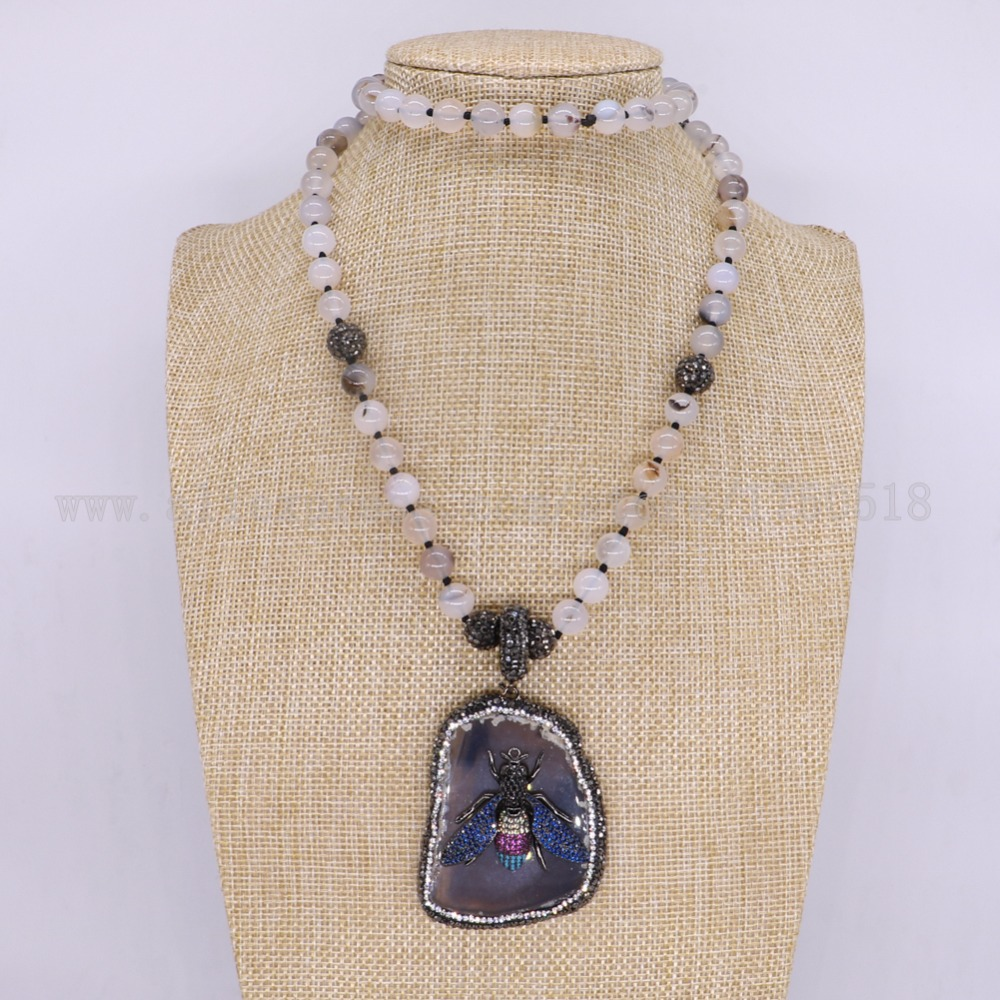 3 pieces natural onyx pendants necklace onyx necklace with bumblebee 3 pieces natural onyx pendants necklace onyx necklace with bumblebee beads with bees free form pendant gems for women 3166 in chain necklaces from jewelry aloadofball Image collections