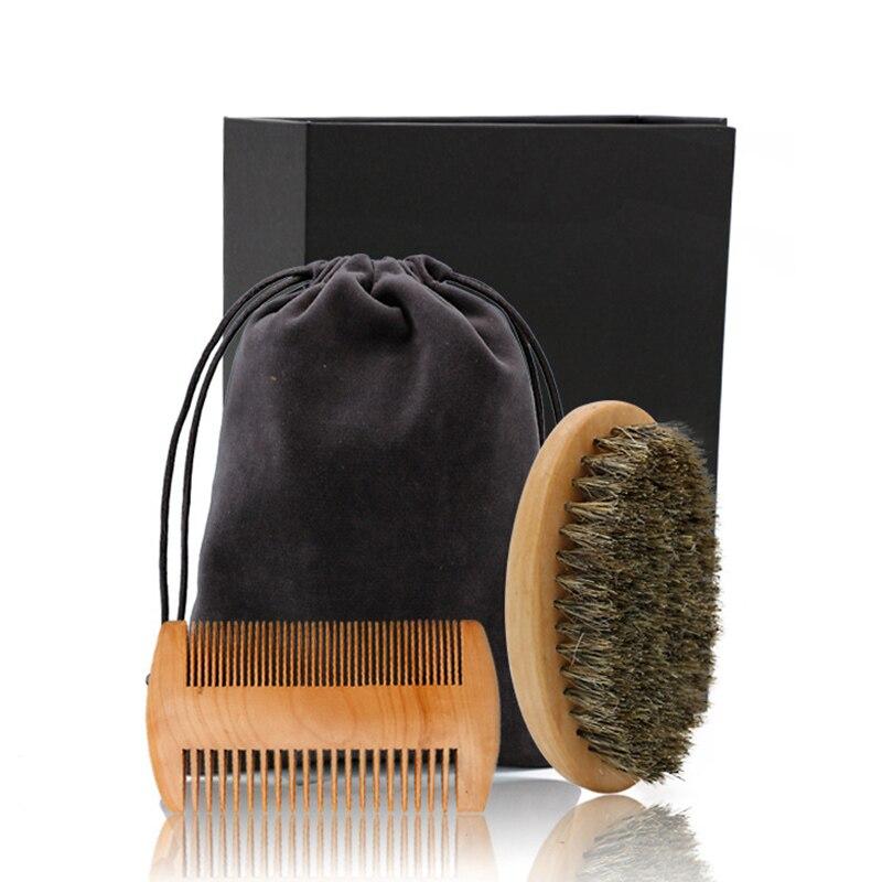 3pcs/set Wood Beard Brush Hairdresser Shaving Tool Men Mustache Comb Kit With Gift Bag Beard Comb Set