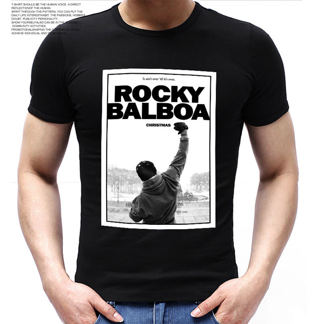 Fashion Men ROCKY BALBOA Printed   T     Shirts   Famous Movie ROCKY BALBOA POSTER   t  -  shirts   Top Tee   Shirts