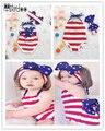Menina roupa do bebê crianças listrado cinta romper criança macacão sem mangas arco início headband elegante newborn infant clothing set