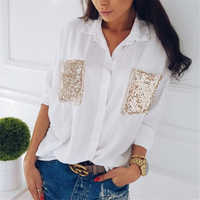 Hirigin Mode Frauen Casual Langarm shirt Chiffon brust pailletten tasche langarm Blusen Lose frau Tops Bluse