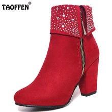 30-47 TAOFFEN Plus Size Mulheres Grosso Salto Alto Rebites Ankle Boots de Pele Quente Dentro de Botas de Inverno Para As Mulheres Com Zíper feminina Botas Calçado
