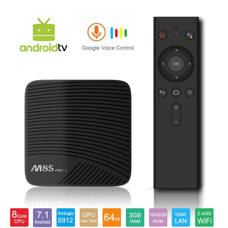 Mecool M8S PRO L Google Voice Control TV Box 4K Smart TV Box Android 7.1 Amlogic S912 Set Top Box Media Player 3GB 16G KODI DHL mecool bb2 pro amlogic s912 3gb ddr4 16gb emmc tv box rii i8 black