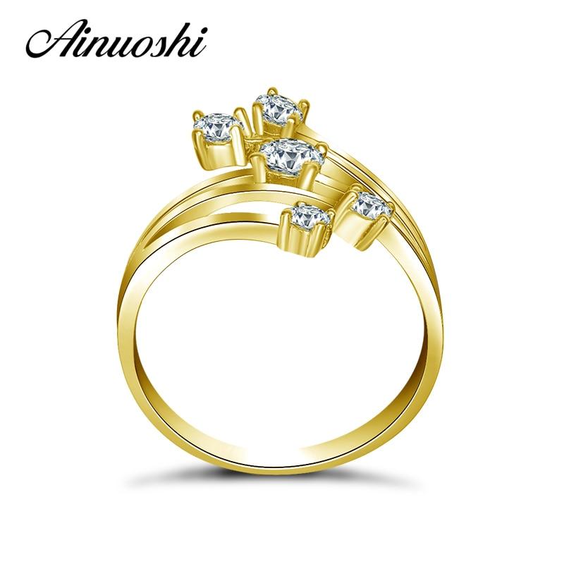 AINUOSHI 14 K solide or jaune étoile fleur anneau conception spéciale SONA simulé diamant mariage fiançailles grappe anneau femmes cadeau - 2