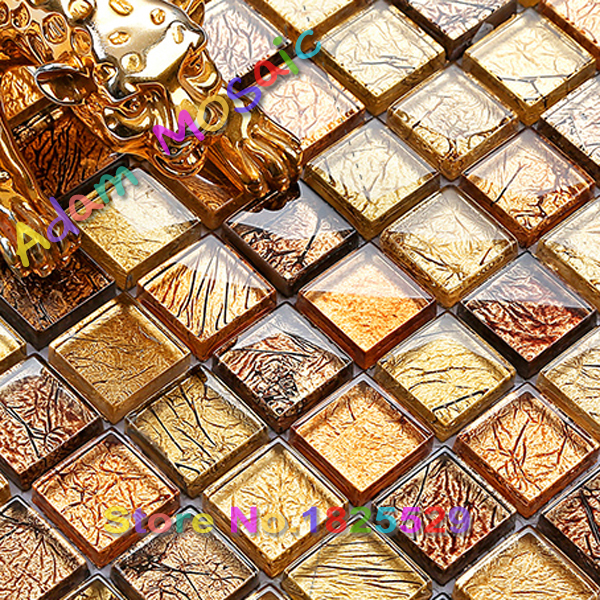 Golden Tile Glass Mirror Shower Wall Coverings Gold Mosaic Tiles Kitchen  Backsplash Art Tile Subway Yellow