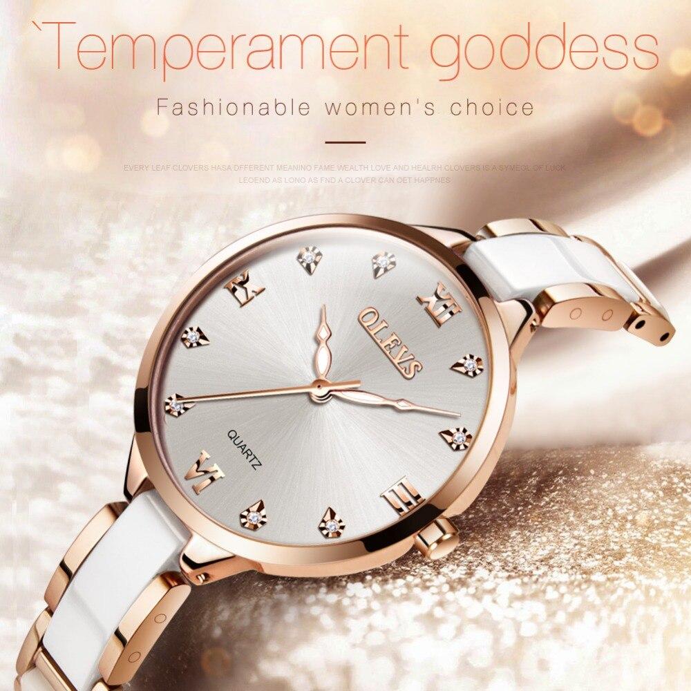 OLEVS Keramik Uhr Luxus Frauen Uhren Quarz Römischen Oberfläche Zifferblatt Damen Uhr Wasserdicht Rose Gold Armbanduhr Edelstahl