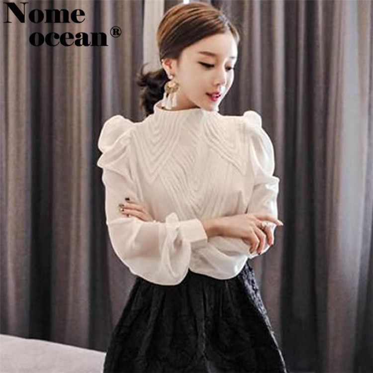 b9af1b8ffdddf7 ... Vintage Embroidered Front Chiffon Blouses Puff Sleeve Stand Collar  Women's Long Sleeve Shirts Blouse OL Shirt ...