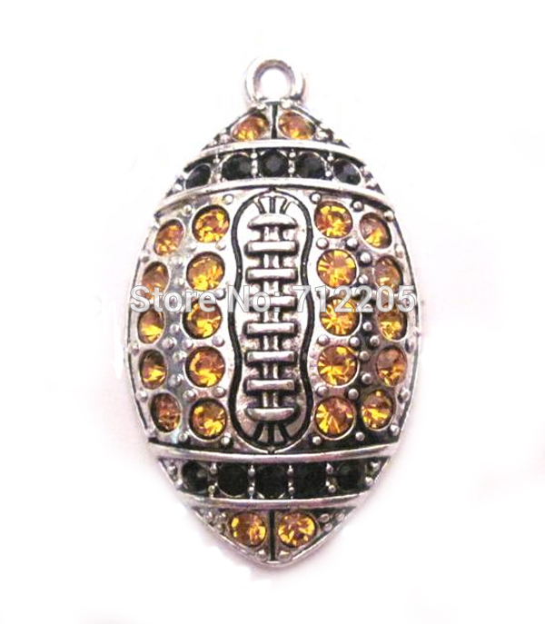New Styles 100pcs a lot antique silver color zinc studded Football Black and yellow gold Crystal