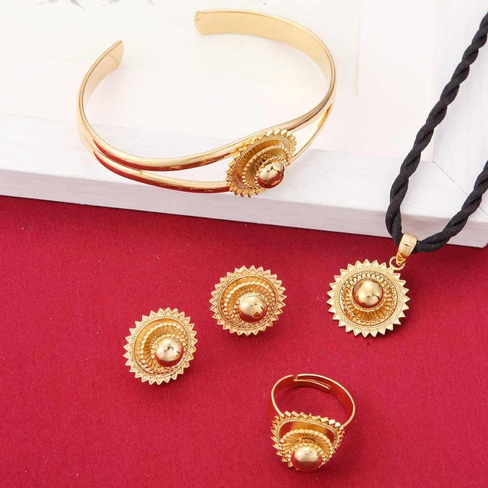 אריתריאה תליוני שרשרת עגילי טבעת צמיד סט צבע זהב Eretrian Abyssinia אפריקאי תכשיטי סט תכשיטי כובע