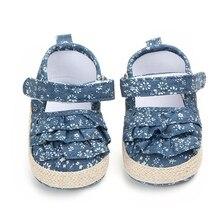 2018Fashion Blue Summer Denim Princess Shoes For Girls Soft