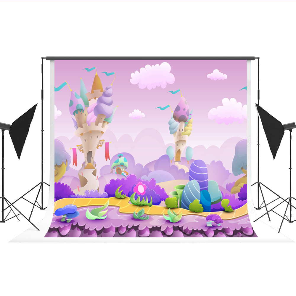 Kate Cartoon Forest Background Purple Candy Word Photo Backdrop Fairy Tale Photographer Props for Children Fotostudio Photos