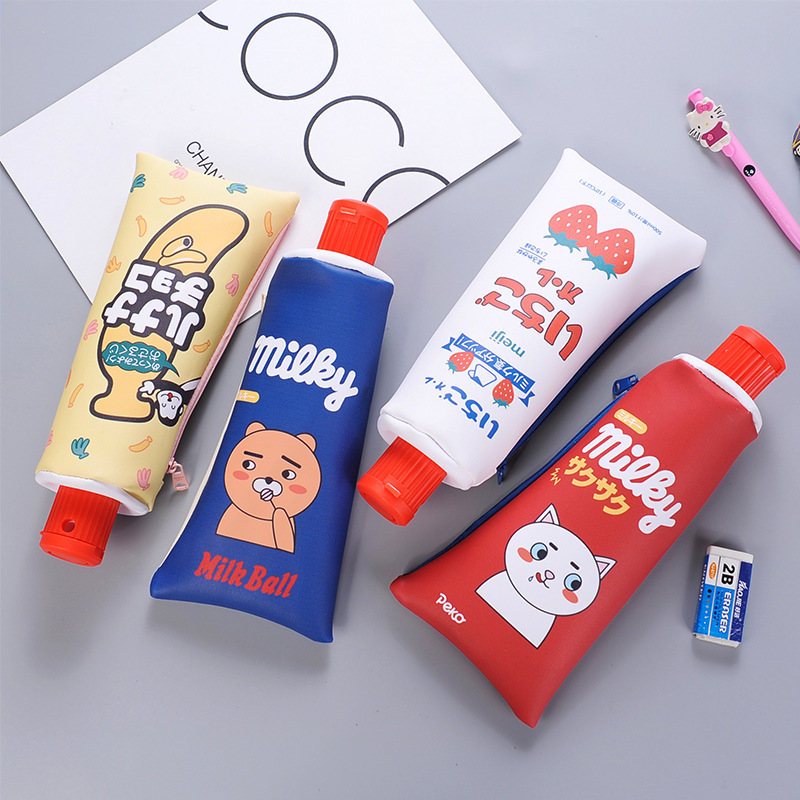 New Korean Cartoon Toothpaste Shape PU Pencil Case with Sharpener Stationery Storage Organizer Bag School Supplies Student Prize household mouth shape 2pcs toothpaste squeezers
