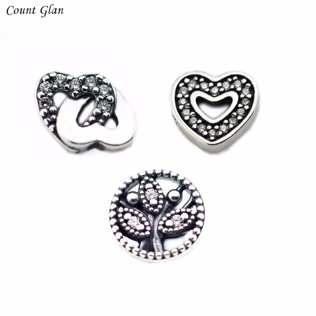 Petite Elements Pack in silver with Heart, Interlocked Hearts and Family Tree 100% 925 Sterling Silver DIY Women Jewelry