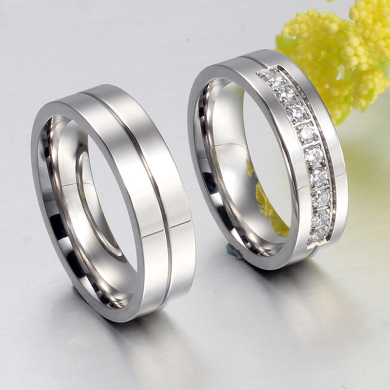 New Couple Engagement Ring Lovers Rings for Women and Men ...