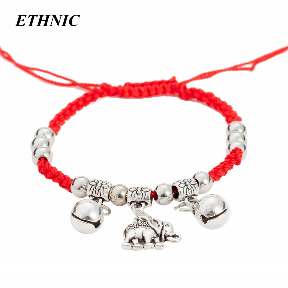 Vintage A Bracelet Red Thread Red String Elephant Charm Braided Adjustable Chain Anklet Bracelets For Women Jewelry